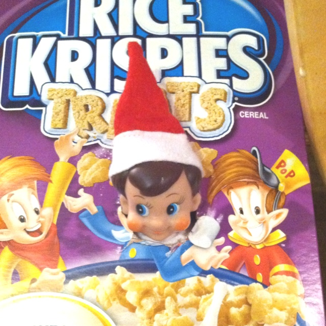 Elf on the shelf having fun tonight with his other Elf friends, Snap and Crackle!