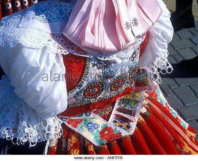 detail of Moravian folk costume in feast Dubnany Czech Republic ...