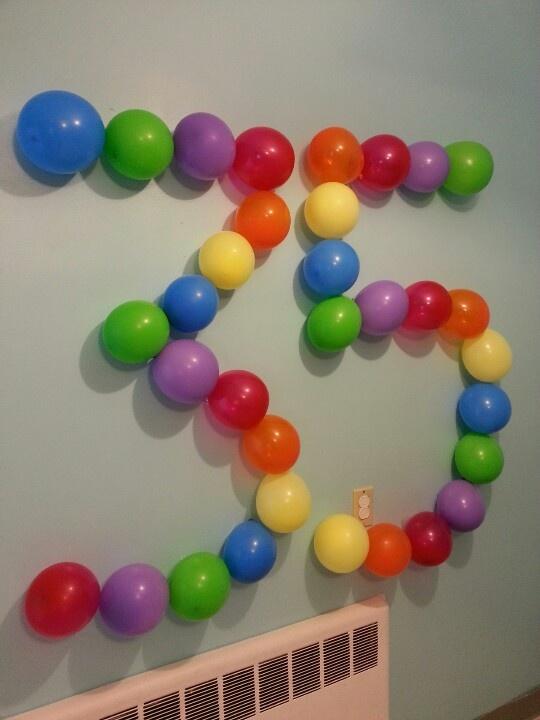 Balloon number.  Wall decor.  Birthday decoration.