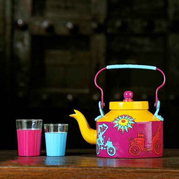 Handpainted tea kettle with glasses  teapot  indian by AKrazyMug1