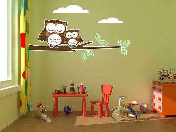 Happy Brown Owls Birds kids room vinyl wall decal graphics 36″x22″ nursery decor