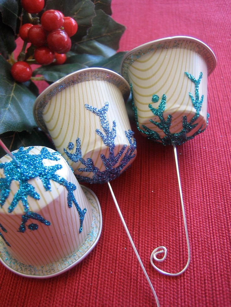 Recycled K-cups Snowflake Kissed Bell Ornaments Christmas / Winter Craft  via Etsy.