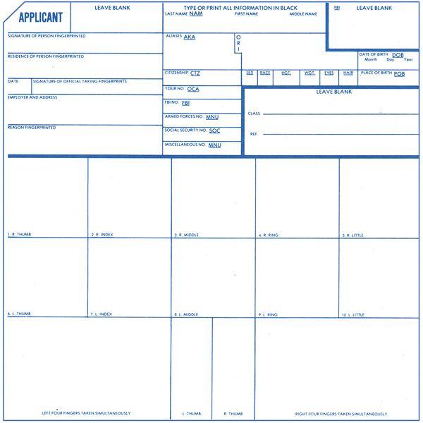 FBI Fingerprint Cards w/ ORI Information - Forensics Source