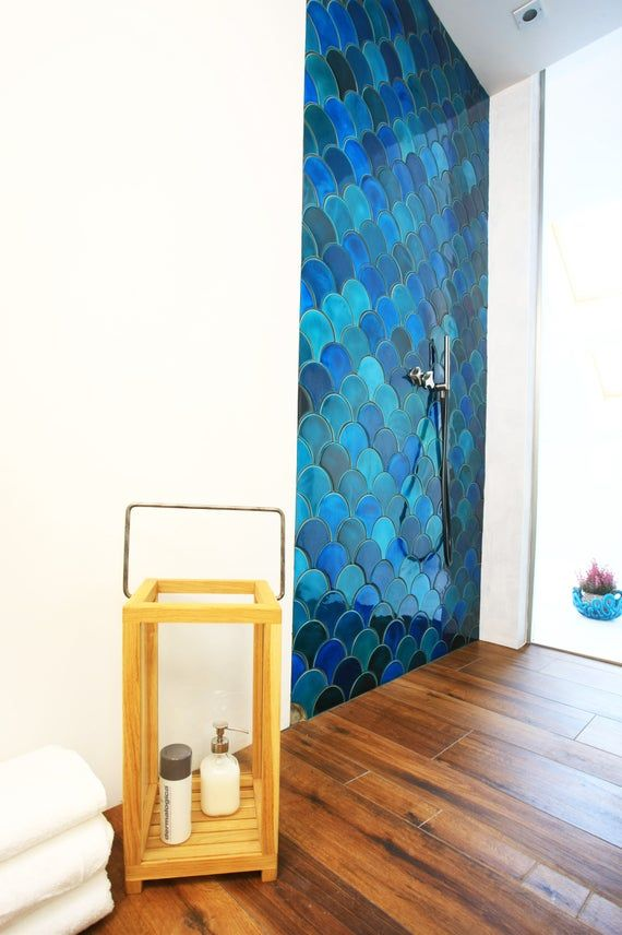 1 Square Feet 1 Ft2 Mix Of Intensive Colour And Lighter Etsy In 2020 Blue Kitchen Tiles Green Tile Bathroom Fish Scale Tile