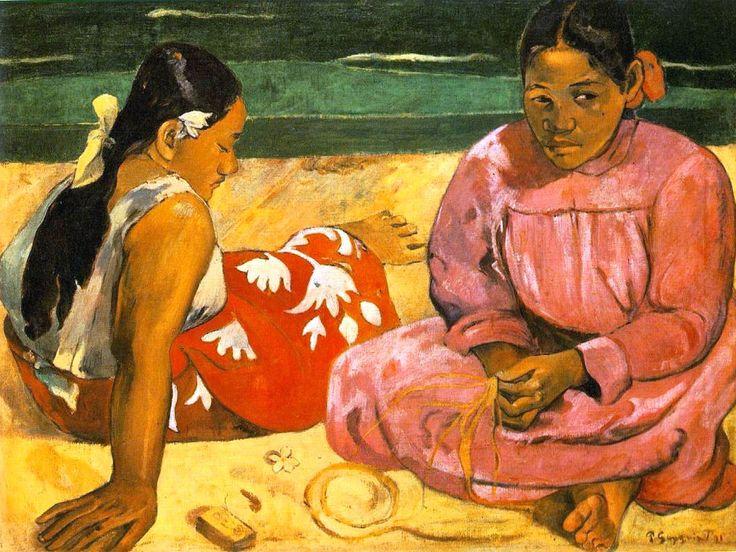 PAUL GAUGUIN (1848-1903) DONNE DI TAHITI  L'arte di Gauguin ha tutto l'aspetto di una fuga dalla civiltà, alla ricerca di nuovi modi di vita, più primitivi, più veri, più sinceri.  Il distacco da un mondo solidamente borghese, l'abbandono della famiglia, dei figli, del lavoro, il rifiuto della facile gloria e del facile guadagno: questi, gli aspetti più conosciuti della vita e della personalità avvincente di Gauguin... #art #oil #canvas #Gauguin #history