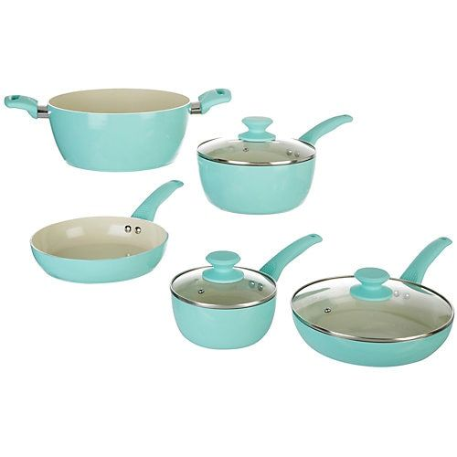 IKO combines contemporary cookware with cutting edge design. This 8-piece Crema Cookware set features Cera2 dual ceramic nonstick coating, durable aluminum construction, cooling handles, and glass lid with steam vent. Set includes one 8'' fry pan, one 9.5'' fry pan, one 5 qt. Dutch oven with lid, one 3 qt. sauce pan with lid, and one 1.5 qt. sauce pan with lid.