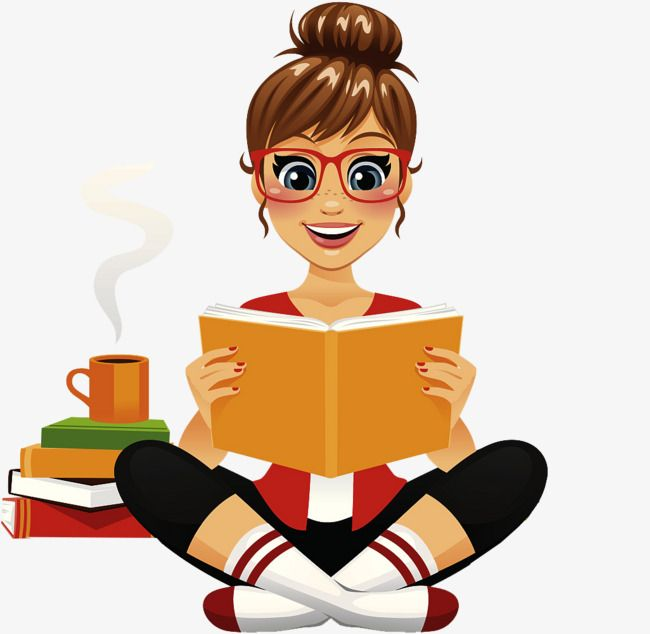 The Cartoon Girl Drinks Coffee While Reading, Cartoon