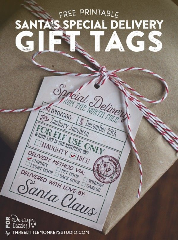Free Santa's Special Delivery Gift Tags from Three Little Monkeys Studio. Just type in the names and date in the PDF and print!