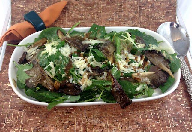 Warm Arugula and Spinach Salad with Parmesan and Mushrooms