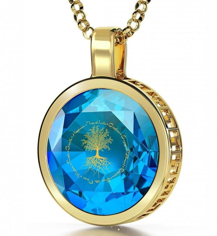 14kt Gold Tree of Life Necklace Imprinted in Gold on Blue Topaz Cubic Zirconia