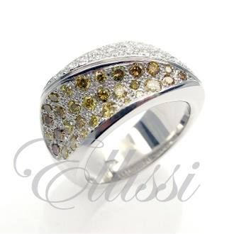"My best description of this ring: ""Random set pave, concave/convex band of fancy yellow, cognac and white diamonds"". Such a mouth full. Try saying that after a few glasses of wine... #ring #cognac #diamond #jewellery #melbourne #ellissi"