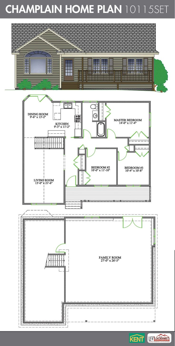 Champlain 3 Bedroom 1 Bathroom Home Plan Features Large Living Room With Cathedral Ceiling Open Concept Dining Kitchen Master His