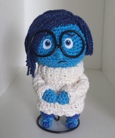 Doll Amigurumi Sadness from Inside Out - Free English Pattern here: http://www.miahandcrafter.com/atelier/sadness-inside-out/