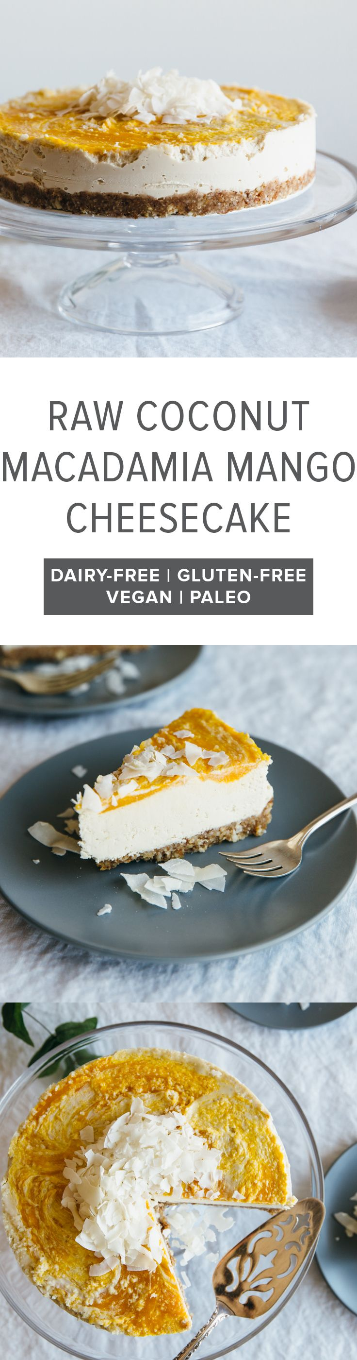 (gluten-free, vegan, paleo) Raw coconut, macadamia and mango cheesecake. A fruity and tropical dairy-free cheesecake.