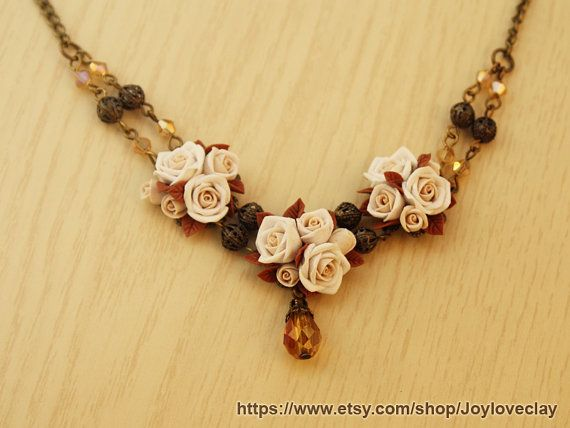 statement necklace antique necklace  flowers by Joyloveclay, $32.00