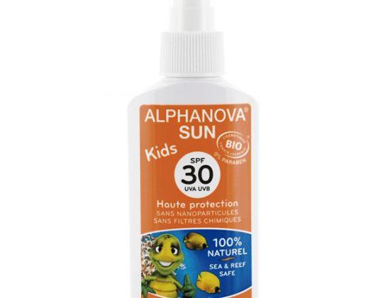 ALPHANOVA SUN – Protección Solar Infantil SPF 30 Kids Spray 125 ml.  Primera formula que protege el medio ambiente marino. Sin nanopartículas, parabenos, filtros químicos ni conservantes químicos.