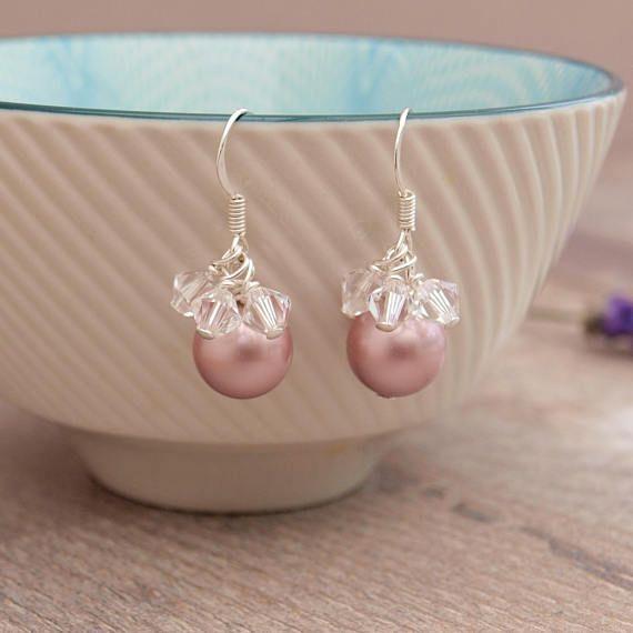 Rose Pink Pearl Bridal Earrings  Pearl and Crystal Wedding