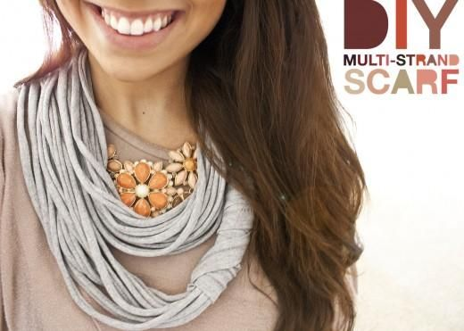 DIY Multi-Strand Scarf DIY. Super quick and easy! Took me maybe 15mins to cut the strands out and pick out a cute bow to put on it. It's really versatile (length, width of the strands, attaching bows or flowers). Fun :)
