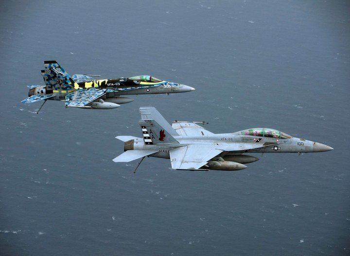 An F/A-18F Super Hornet assigned to Strike Fighter Squadron (VFA) 22, and an F/A-18C Hornet assigned to VFA-113 join a formation of aircraft from Carrier Air Wing (CVW) 17 during a mission flown from the Nimitz-class aircraft carrier USS Carl Vinson (CVN 70) in 2012. Two generations of F/A-18s have been developed, supported, and sustained by NAVAIR. U.S. Navy photo by Mass Communication Specialist 2nd Class James R. Evans