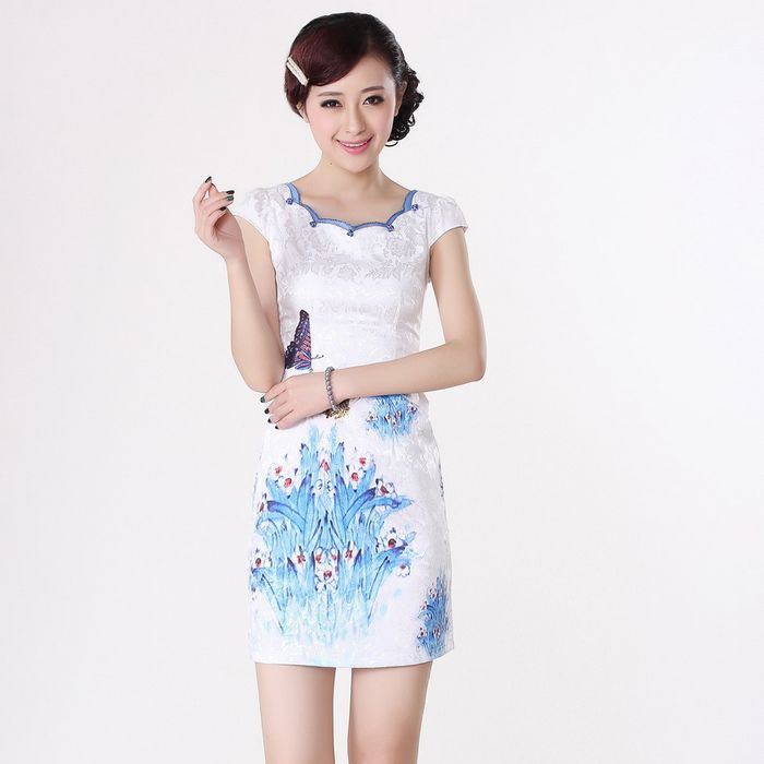 Cute Butterflies Modern Scoop Neck Cheongsam - Qipao - Cheongsam - Women