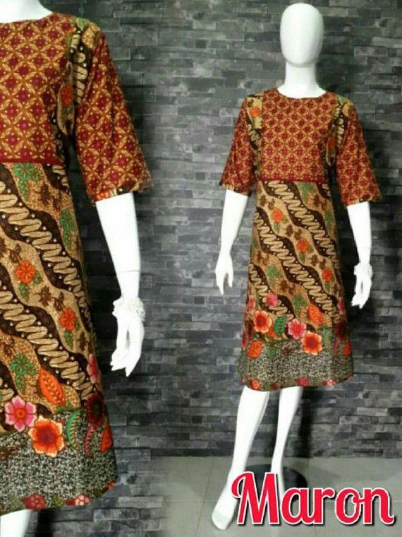 Ethnic Indonesian Tunic Batik Dress Quarter Sleeve Parang Kawung All Size
