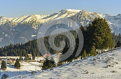 Winter alpine scenery in Fundata, Brasov, Romania