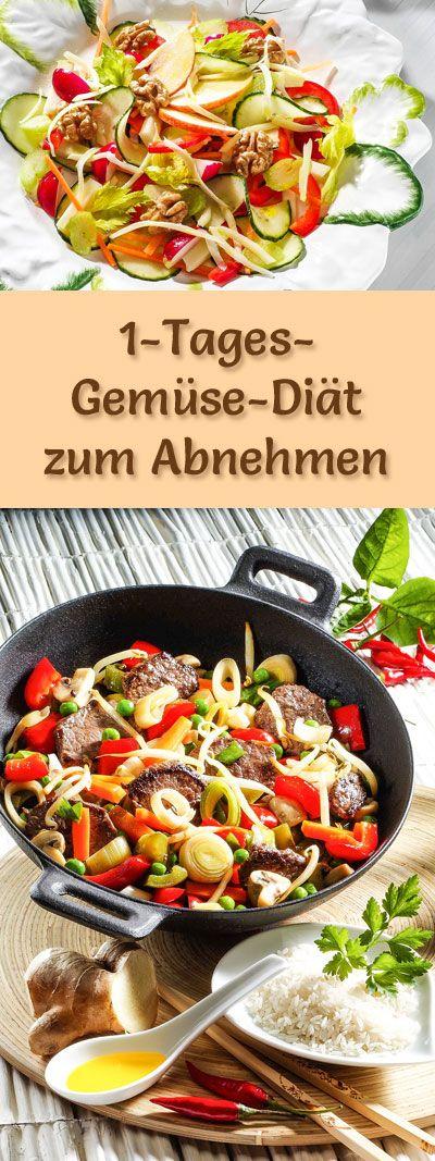 1-Tages-Diät mit Gemüse: Diät-Kur mit Rezepten für Frühstück, Mittagessen, Abendessen und 2 Zwischenmahlzeiten #abnehmen #diät