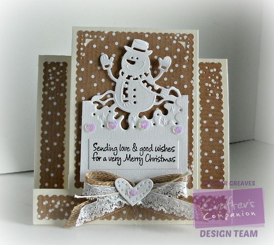 Stepper card using Crafter's Companion Christmas Stackable Edge'able die Mr Snowman - Designed by Gaynor Greaves #crafterscompanion
