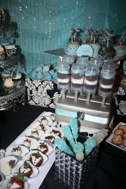 damask and tiffany blue bridal  wedding shower party ideas