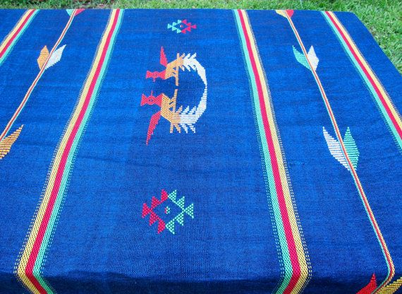 Vintage Southwestern Tablecloth Round Blue Central by hensfeathers