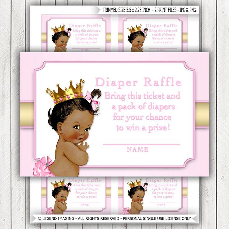 Ethnic Princess Diaper Raffle Ticket African American Princess Diaper Raffle Tickets Pink Gold Princess Diaper Raffle Tickets by LegendImaging on Etsy