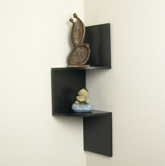 Zig Zag Black Wooden Bathroom Corner Wall Shelves With Double Bathroom Corner Shelves