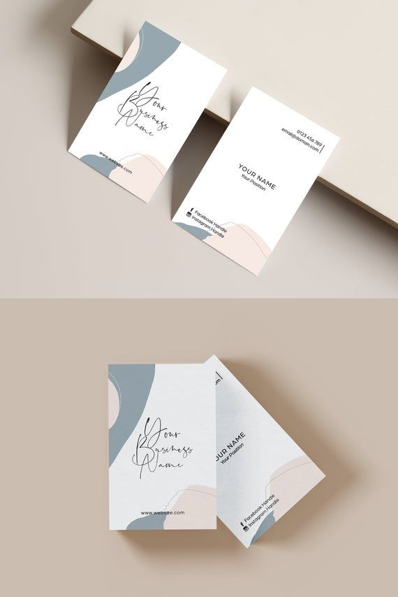 Abstract Modern Business Card Template Blue And Blush Pink Minimalist Busine Graphic Design Business Card Business Cards Diy Templates Modern Business Cards