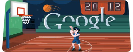 A Google Doodle game celebrating basketball on day 12 of the London 2012 Olympics