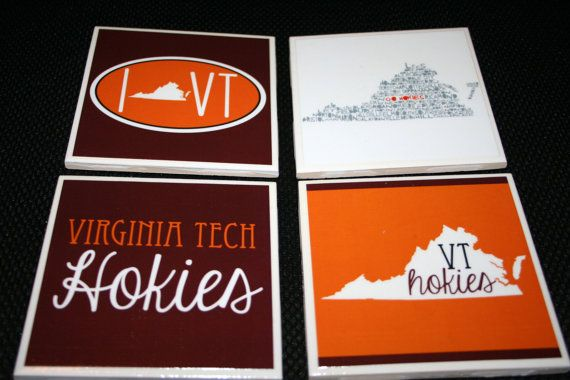 4 Virginia Tech Hokies Coasters by ElegantElliephant on Etsy