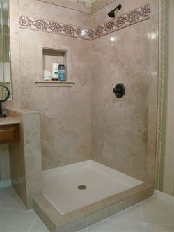 Cultured marble shower with accent