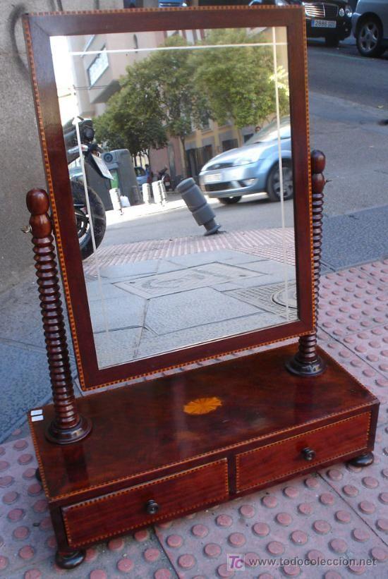 Espejo tocador para colocar sobre una c moda en caoba - Tocador con espejo ...