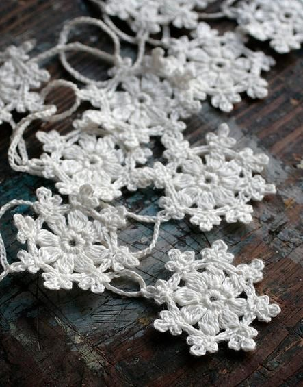 Hand crocheted snowflakes add a wintery touch.