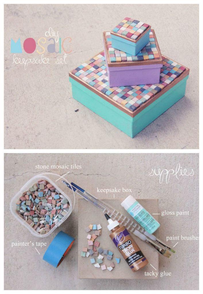 cajas de recuerdo de mosaico