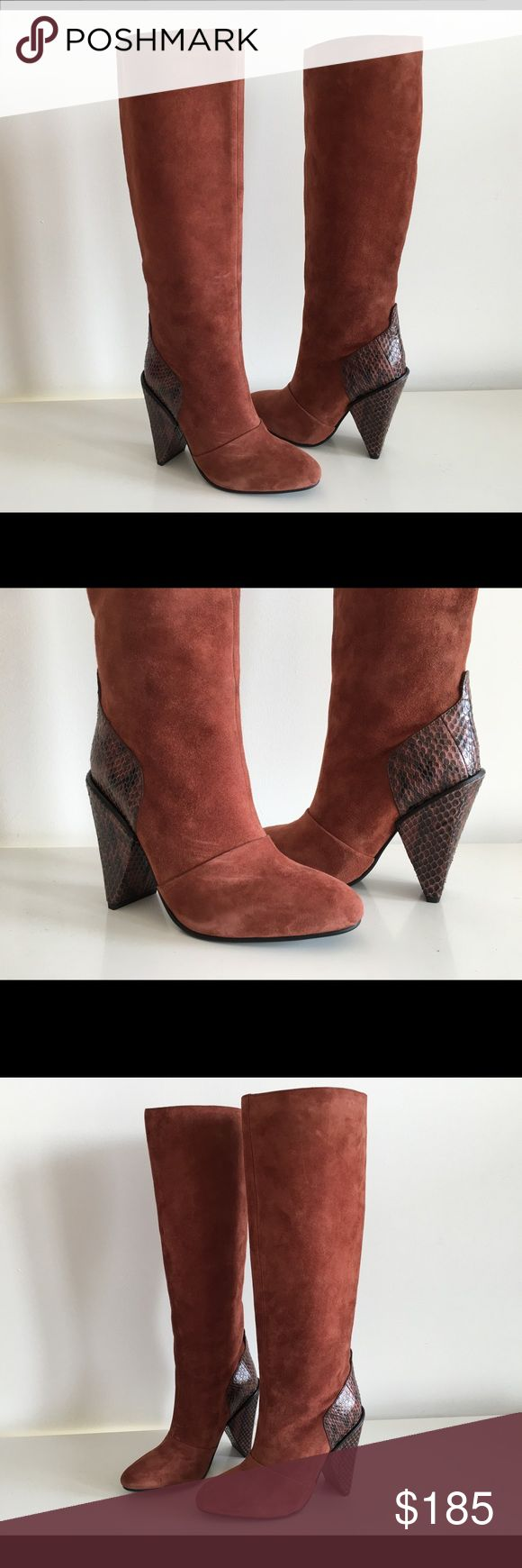 "SEE BY CHLOE BROWN SUEDE LEATHER TALL BOOTS, SZ 36 SEE BY CHLOE BROWN SUEDE LEATHER TALL BOOTS, WITH SNAKESKIN LEATHER AT HEEL, SIZE 36, BLOCK HEEL 4"", SHAFT 14"", TOP CIRCUMFERENCE 13"", CALF CIRCUMFERENCE 12"", PULL-ON, BRAND NEW WITHOUT BOX See by Chloe Shoes Ankle Boots & Booties"