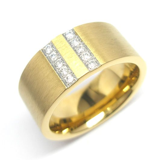 Anillo de acero opaco con baño de PVD oro con dos lineas de 5 circones c/u al centro. Medidas: 12-14-16  $15.000.-