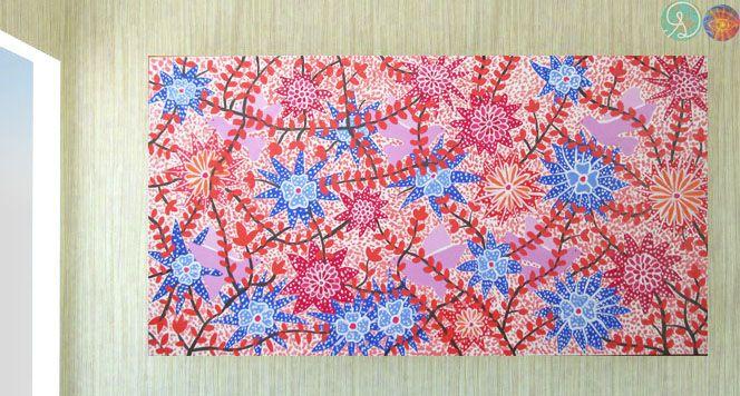 Pintura Flores Primavera: realizado en acrilico con soporte madera trupan de 5,5mm y de 40x76 cm. Precio: $19.500
