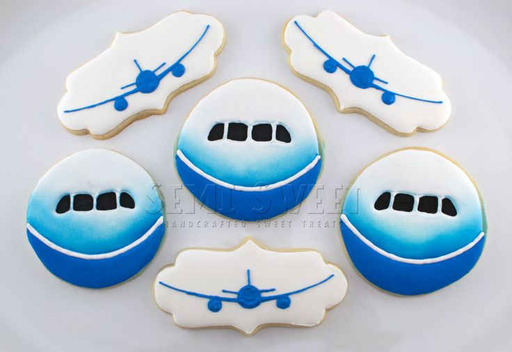 Nicely executed Aero Simulation work party decorated cookies by Semi Sweet. Jets; simulator; and graphs of lift, pitch, & drag