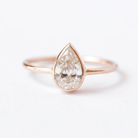 0.75 Carat Pear Diamond Engagement Ring