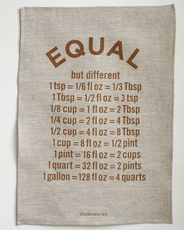 Equal, but different.: Paper Frames, Idea, Teas Towels, Measuring Converse, Recipes, Kitchens Cheat Sheet, Cooking, Kitchens Measuring, Hostess Gifts