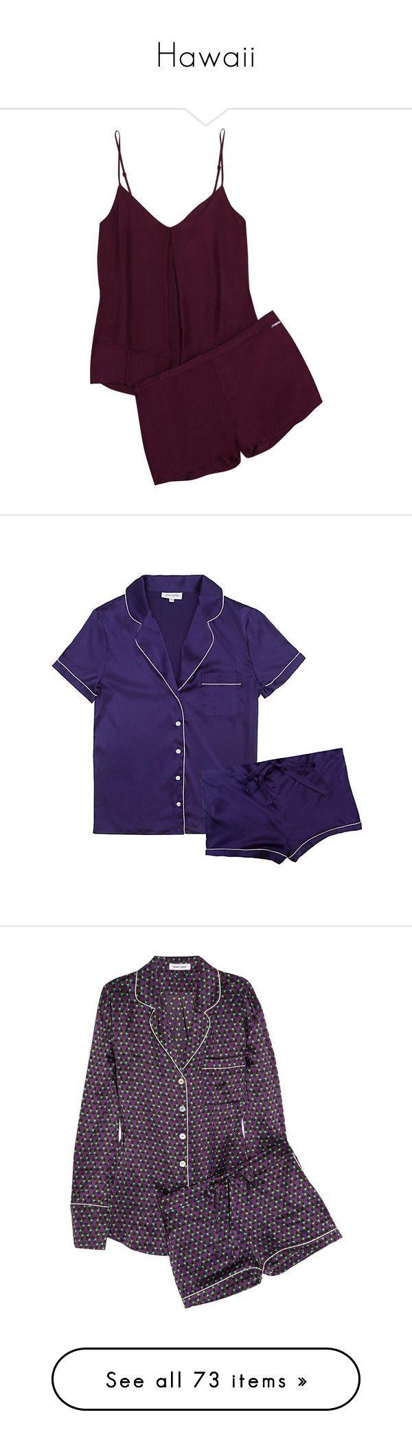 """""""Hawaii"""" by tynabrookler on Polyvore featuring intimates, sleepwear, pajamas, pyjamas, plum, satin pajamas, satin pjs, satin pyjamas, calvin klein underwear e satin pajama sets"""