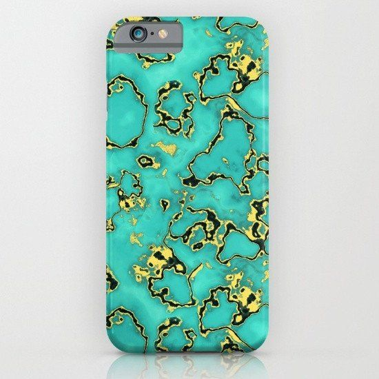 Gold Turquoise iphone case, smartphone