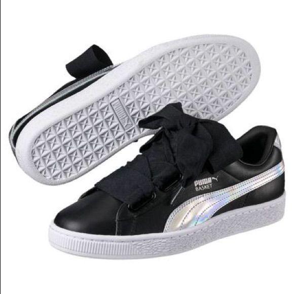 Puma Basket Heart Womens Sneakers Black