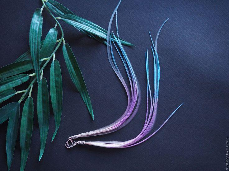 Серьги с перьями - Танец льда, длинные перья, лёгкие серьги - серьги с перьями