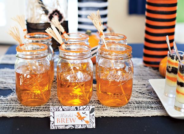 Witches Brew in mason jars rimmed with orange sugar.Orange Sugar, Halloween Parties, Halloween Drinks, Jars Rim, Parties Ideas, Halloween Witches Broom, Mason Jars, Drinks Jars, Witches Brew
